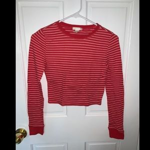 FOREVER 21 Red Striped Crop Top